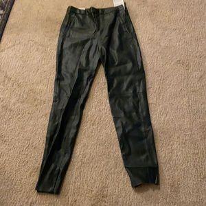 ZARA faux leather pantsin dark green